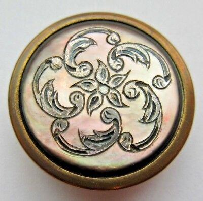 Magnificent Antique PARIS Back Carved MOP Shell in Metal BUTTON Floral (A19)