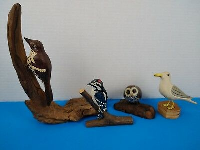 Unique Lot of 4 Estate Collected Hand Carved Wood Bird Figurines **SEE**