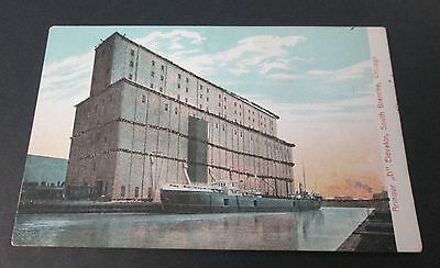 Glittered Postcard Armour D Grain Elevator Chicago Never Used