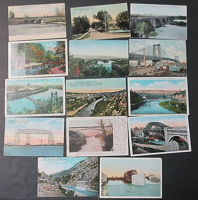 14 Postcards Bridge Views Many Unused