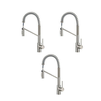 Kraus Oletto Single Handle Pull Down Kitchen Faucet, Stainless Steel (3 Pack)