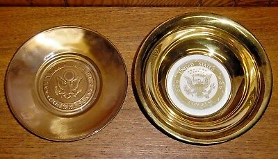 Vintage Brass & Glass Or Porcelain United States Congress Bowl & Plate