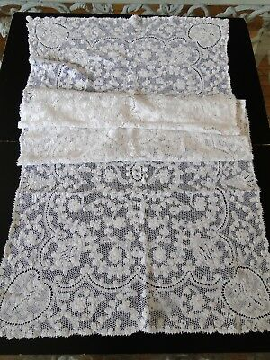ANTIQUE LACE- CIRCA 1900's, HANDMADE LACE TABLE RUNNER