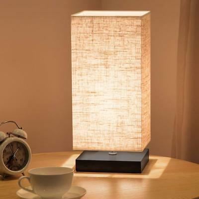 Simple Table Lamp Bedside Desk With Fabric Shade and Solid Wood for Bedroom