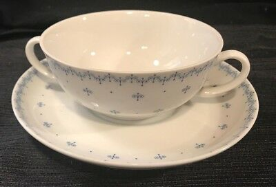 SET 5 Vintage China 2 two handled cream soup bowls Arzberg blue white cup saucer