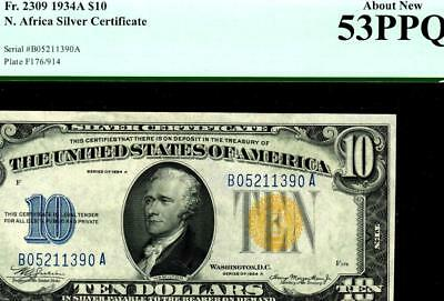 $10 1934A North Africa Silver Certificate PCGS About New 53 1st OF 4 CONSECUTIVE