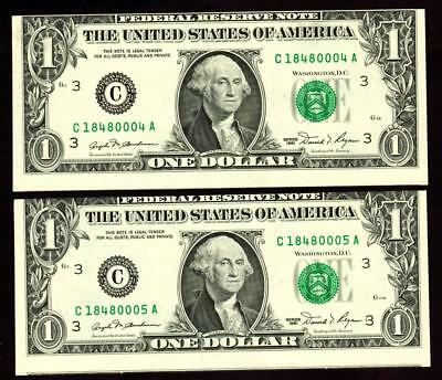 ERROR :: $1 1981 Federal Reserve Note (( Misaligned )) TWO CONSECUTIVE NOTES