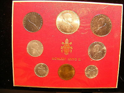 Vatican 1964 Mint Set - With Silver 500 Lira - 8 Coins