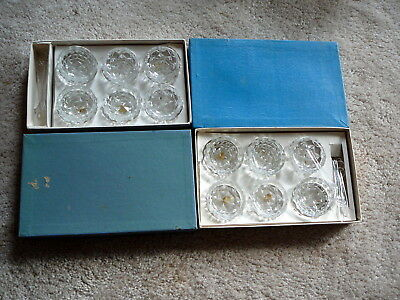 12 Vintage CLEAR GLASS OPEN SALT CELLARS - 2 SETS with SPOONS - JAPAN - EUC IOB