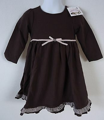 Baby Girls 12 Months Dress Polly & Friends Brown Pink Long Sleeve NWT