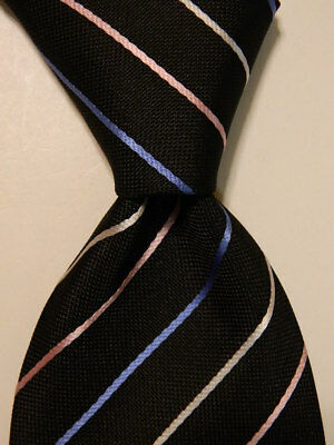 2a1a55d1f21 PAUL SMITH Men s 100% Silk Necktie ITALY Luxury STRIPED Black Blue Pink  PERFECT