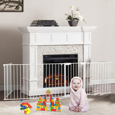6pc Fireplace Gate Fence Pet Cat Steel Fire Gate Baby Safety Fence Hearth Gate