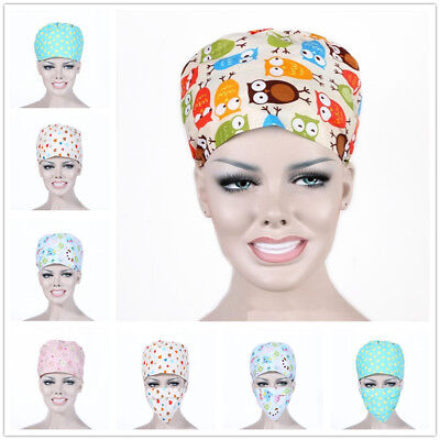 Doctor Nurses Printing Scrub Cap Mask Medical Surgical Surgery Hat Men Women Hot