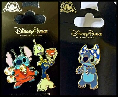 Disney Parks 3 Pin Lot STITCH as Alien w/ Pleaky + Stitch with bra on head
