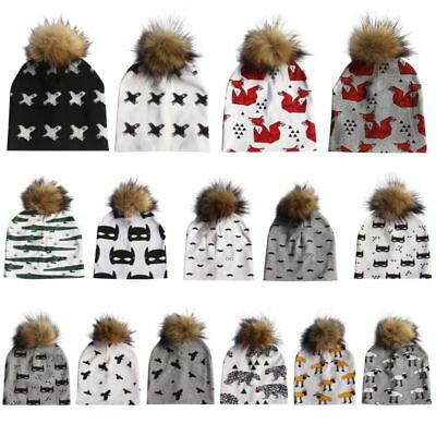 Toddler Kids Girl&Boy Baby Infant Winter Warm Detachable Pattern Pompom Ball Hat