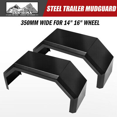 "Trailer Mudguard Steel Pair 4 Fold 13"" Wide For 14""/16"" Wheel Guards Caravan"