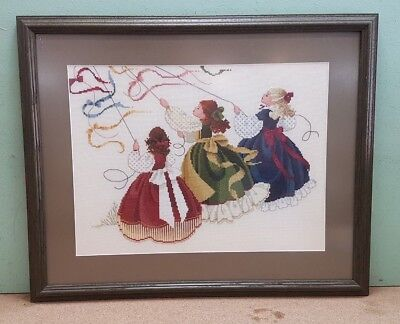Completed Framed Cross Stitch Picture 3 Victorian Girls Kite Flying