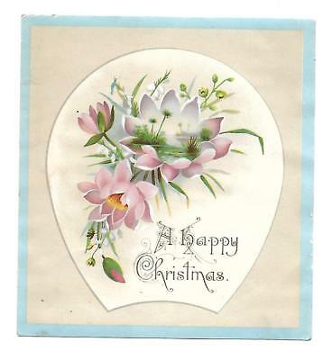 A Happy Christmas Pink Flowers Blue Trimmed Vict Card c 1880s