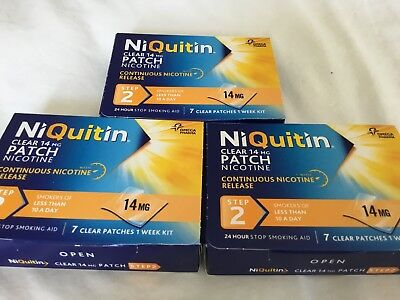 Niquitin Clear Patch Nicotine Step 2  14 Mg 7 Patches X3 Boxes