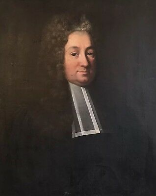 Fine Large 18Th Century English School - Portrait Of A Wigged Cleric Gentleman