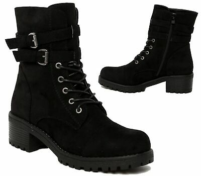 df2e04429b8 Womens Ladies Flat Low Heel Lace Up Zip Combat Army Military Ankle Boots  Size