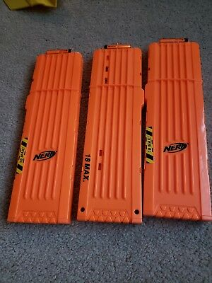 Lot Of 3-Nerf 18 Round Clip Magazine Darts Ammo