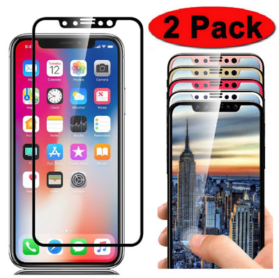 2-Pk Full Coverage 3D Tempered Glass Screen Protector for iPhone X XR Xs Max Lot