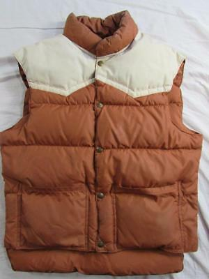 Vtg 70s Comfy Goose Down Western Vest Puffer Puffy USA Made 2 Tone Rockabilly