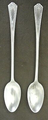Vintage IS Silver Plate Iced Tea Spoons Set of 2 Bride Pattern circa 1923