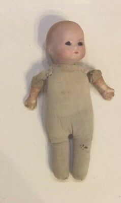 "Antique 6 1/2""  Doll Bisque Head and Arms Cotton Stuffed Body Glass Eyes"