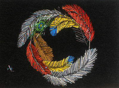 """ACEO Original  """"Circle of Feathers"""" Silk Hand Embroidery - A Lobban"""