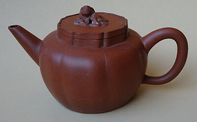 Yixing Teapot Chinese Pottery Old Antique Signed Sizha Melon Shape Dog Finial