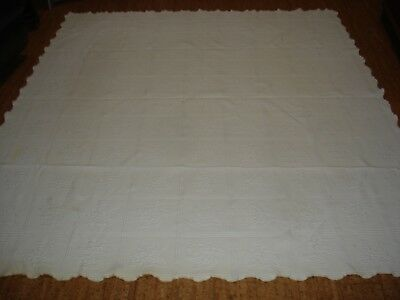"""Vintage Floral Squares, Scalloped, White Coverlet 87"""" x 77"""""""