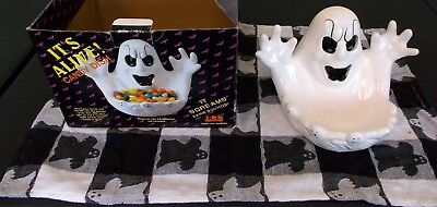 1990s Halloween Ghost Candy dish makes spooky sounds/noises WORKS MIB decoration