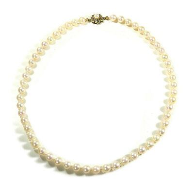 50 cm AKOYA Perlenkette Zuchtperlen Collier D: 7,3 mm Pearl Necklace