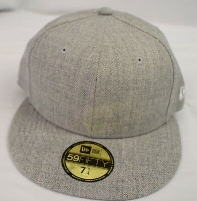 New Era 59Fifty Mens Tonal Gray Heather Blank Fitted Hat Cap New 7 3/8