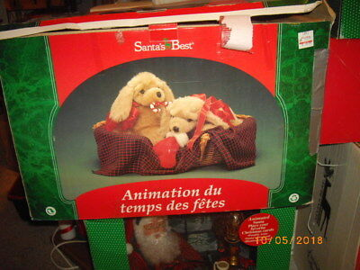 Santa's Best Animated Figure Puppies in a Basket
