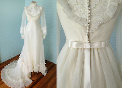 Vintage 70s Ivory High Neck Wedding Dress Pleated Organza Beaded Lace Gown XS-S