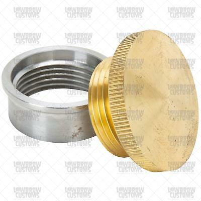 Lowbrow small unvented Brass Gas Oil Filler Cap & Weld-In Steel Bung USA chopper