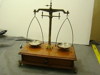 Antique 1900s Henry Troemner Apothecary Balance Beam Scale w/ Storage ANB