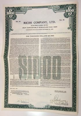 Japan. Ricoh Co. Ltd., 1983 $1,000 Specimen 6 5/8% Debenture Bond, XF SCBNC