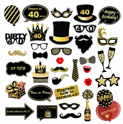 36pcs Birthday Party Photo Booth Props Party Favor Decor 16/18/21/30/40/50/60th