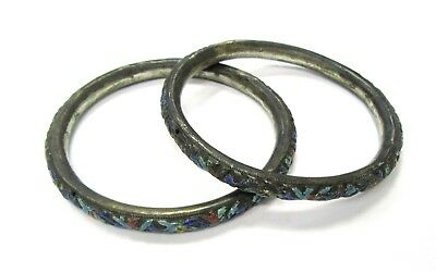 Pair Antique Chinese Repousse Enamel Bangle Braclelets - 7 3/4""