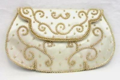 Gorgeous Vintage White Beaded Hand Clutch Made In Japan