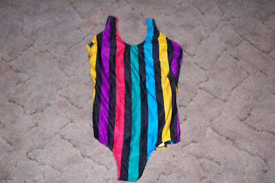 Vintage 80s Neon Stripe One Piece Swimsuit size 8