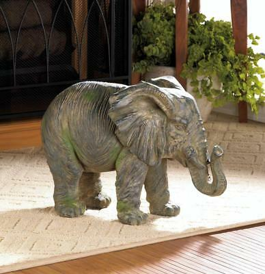 ELEPHANTS: Beautiful Weathered Gray Elephant Statue 12""