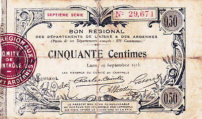 50 Centimes Fine Banknote From France/laon 1915!