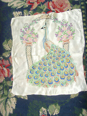 Completed peacock embroidery sampler picture vintage bird art arbor garden 17x18