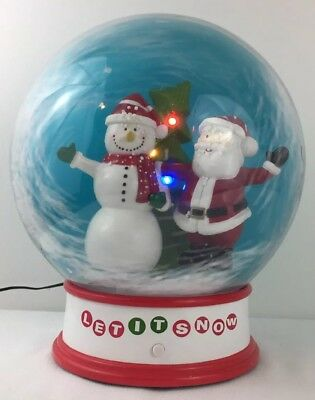 "Gemmy Big Christmas Snow Globe ""Let It Snow"" Blowing Snow on Santa and Snowman"