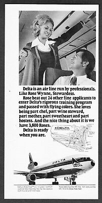 """1973 Delta Airlines Stewardess Rose Wynne photo """"Ready When You Are"""" print ad"""